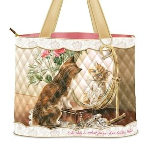 NEW The Bradford Exchange quilted kitten bag